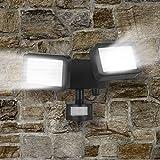 Easymaxx Security LED-Außenstrahler | Doppelstrahler mit Bewegungsmelder | stufenlos verstellbar, ABS, PC, Aluminium, schwarz