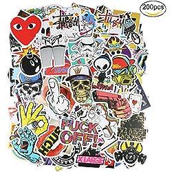 ivencase 200pcs Pegatinas hidrófugo vinilo de las etiquetas engomadas pack para coches moto la bici Monopatí portatil Equipaje Portátil niños