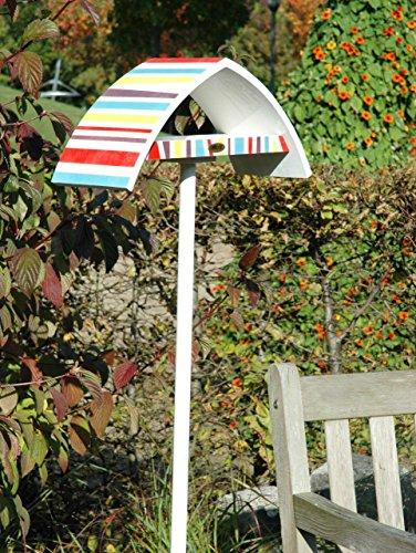 """Luxus-Vogelhaus 31026e Design-Vogelfutterhaus """"New Wave"""" in weiߟ mit bunt gestreiftem Dach, inklusive Ständer (Gesamthöhe circa 183 cm) - 2"""