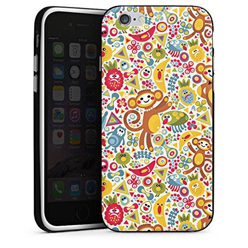 Apple iPhone X Silikon Hülle Case Schutzhülle Kids Kinder Affen Silikon Case schwarz / weiß