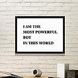 DIYthinker Ich bin das Powerful Boy Einfacher Bilderrahmen Kunstdrucke Malereien Startseite Wandtattoo Geschenk Medium Schwarz