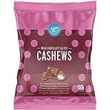 Marchio Amazon - Happy Belly Anacardi salati ricoperti di cioccolato al latte 130g x 6