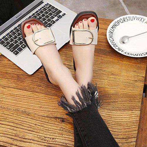Omiky® Frauen Sommer flache Sandalen Hausschuhe Freizeit Flops Strand Slipper Beige