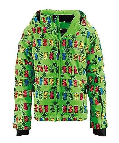 maier sports Kinder Skijacke Orsellini, Green/Blue/Pink Allover, 86, 310517
