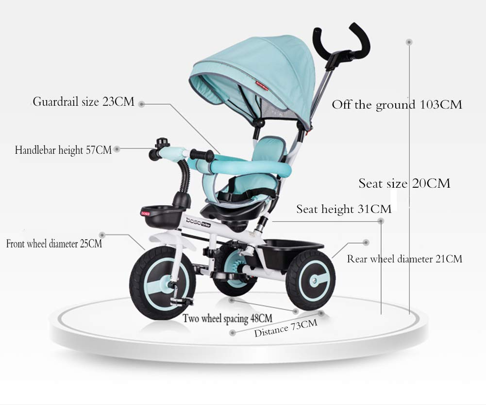 Children's Tricycle, Double-Sided Seat Stroller Adjustable Sun Visor Enlarged Storage Box Folding Pedal 3 to 6 Years Old Baby Indoor YYY ✅ 4-in-1 multi-function: two-way steering seat with push button unit. Push-pull, personalized putter multi-range adjustment putter to meet children of different heights, as the child grows, the tricycle can be adjusted to the fourth level. ✅ Durable material: This thrust tricycle is made of gem steel + environmentally friendly titanium empty wheel, with excellent strength, light resistance and anti-flaking adjustable awning. The tarpaulin material has a waterproof layer that blocks harmful ultraviolet rays, has a good sunscreen effect, and has mesh ventilation. ✅Safe design: The front wheel clutch has a two-stroke system. The steering linkage and quiet design effectively control the noise problems that may occur during implementation. Seat belt and guardrail and guardrail with double fixing pad 6