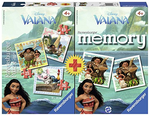 Ravensburger- Multipack, Memory + 3 Puzzles, Vaiana (21272)