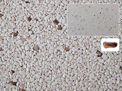 Natursteinteppich-Fliese Exclusive Dekor : HOLZ Cremefarben versetzt mit Heilstein Lignum - flexible Bodenfliese für Innen und Außen aus italienischem Marmorkies, Teppichfliese, Marmorteppich, Terassenboden - 1m² Paket (4 Stück 50x50 cm)