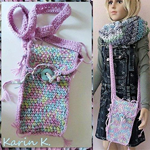 Häkel- Bag mit Innenfutter und Innentaschen/Beuteltasche/Beutel/Schultertasche/Umhängetasche in Pastellfarben aus Baumwolle, gehäkelt im Boho- Style, passt perfekt zu Jeans -