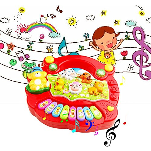 Parteet Musical Animal Farm Piano with Amazing Sounds and Lights for Kids