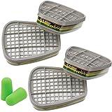 3M Filtre 6059 Cartouche ABEK 1 pour Respiratoire Serie 6000 – 4 Cartouches ABEK1 (2 Paires) et Bouchons d'oreilles SmartProd