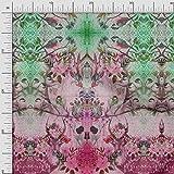 Soimoi Rosa Seide Stoff Blumen & Platte gedruckt Craft