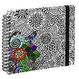 Hama Spiral-Buch Colorare, Buch mit 50 weißen Seiten und Spiralbindung, mit Blumen-Design zum Ausmalen, Format 28x24cm, Fotobuch/Malbuch für Erwachsene, schwarz-weiß