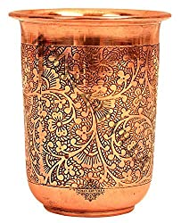 IndianArtVilla Embossed Design Copper Curved Glass Tumbler, Drinking Water, Yoga Ayurveda Healing, 210 ML, Brown