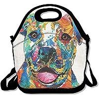 Preisvergleich für Colorful Happy Dog Pit Bull Isolierte Lunchtasche Picknick Lunch Tote für Arbeit, Picknick, Reisen