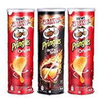 Pringles Hot and Spicy Flavored Chips 1 Can Plus Pringles Original Flavored Chips 2 Cans, 165 grams each (Pack of 3 cans)