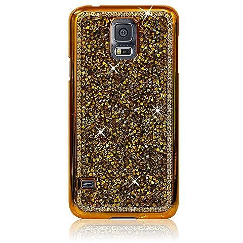 Xtra-Funky Exklusiv Samsung Galaxy S5 Mini Kristallrhinestone-Felsen harter Fall mit Sekt Diamante Kanten und Chrom-Rim - Gold