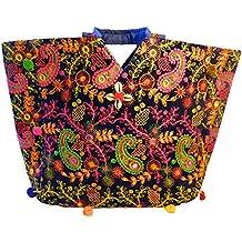 Bolso indio algodón azul oscuro paisley bordados espejitos flores bolsa accesorio