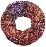 styleBREAKER écharpe tubulaire multicolore en tricot, à fines ondulations, écharpe en tricot à grosses mailles, unisexe 01018141, couleur:Orange-rouge-lilas-vert