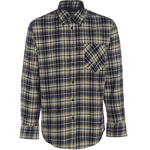 Blau Tattersall Check (Herren Flanell Kariertes Hemd Gebürstete Baumwolle Warm Lumberjack Smart Arbeits-oberteil Country - Creme Marineblau Khaki kariert, XL)