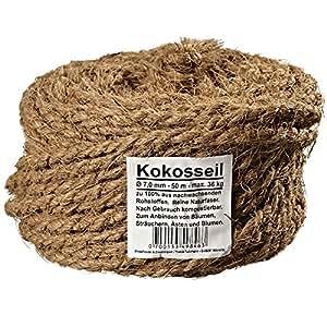 Ø 7.0 mm corde en noix de coco fil en noix de coco attache arbre ficelle de jardinage ruban de jardin en fibres de noix de coco 100% en fibres naturelles (Ø 7.0 mm - 50 m - capacité de charge max. 36 kg)