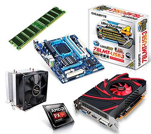 One PC Aufrüstkit   AMD FX-Series Bulldozer FX-8350, 8x 4.00GHz   montiertes Aufrüstset   Mainboard: Gigabyte GA-78LMT-USB3   8 GB RAM (1 x 8192 MB DDR3 Speicher 1600 MHz)   CPU Mainboard Bundle   Grafik: 2048 MB AMD Radeon R7 240, VGA, DVI, HDMI   komplett fertig montiert! (Vga-bundle)