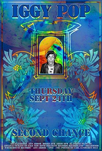 Poster Iggy Pop Ann Arbor Punk Konzerttribute, 48,3 x 33 cm, fertig zum Ausstellen, Lieferung erfolgt flach in Beutel, von Grande Ballroom Künstler Carl Lundgren 2008, gedruckt in Detroit MI USA -