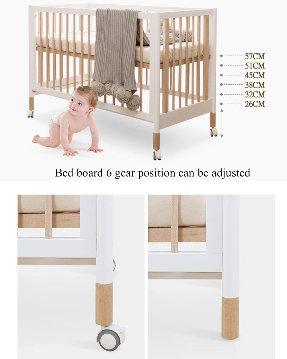 XUNMAIFLB Removable Solid Baby Cot Bed Wooden Toddler Bed, Swing Bed, Baby Beech Bed, Adjustable Comfort Bed 120 * 60cm (game Bed + Splicing Bed) Safety XUNMAIFLB Sofa bed: The side rail slides down to the bottom and becomes a sofa bed, suitable for toddlers or babies over 3 years old. Five variations: Cribs that can accompany your baby, 0-6months crib mode (1-2 files); 6-12months crib mode (3-4 files); 1-3years of age game bed mode (5 -6 files); 3years of age+ sofa bed mode. Silent casters: One button unlocks the mute, smooth, does not hurt the floor, and is light and effortless. 5