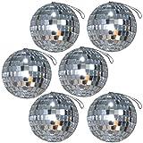 Spassprofi 6 große Discokugeln mit Band Spiegelball 70er Jahre Anhänger Deko Diskoball Discokugel