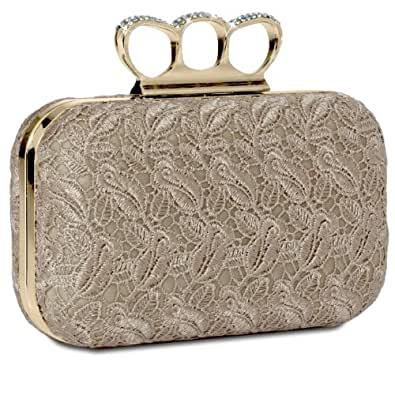 CASPAR Damen Schlagring Box Clutch / Abendtasche mit Stoff Häkel Spitze Dekor und Strass Steinen - viele Farben, Farbe:beige