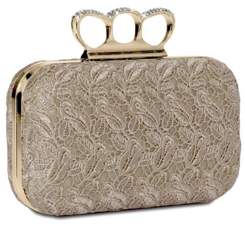 CASPAR Damen Schlagring Box Clutch / Abendtasche mit Stoff Häkel Spitze Dekor und Strass Steinen - viele Farben beige