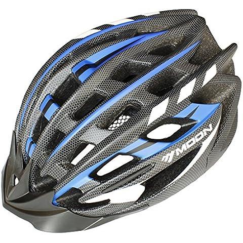 Luna carretera y MTB–Casco de ciclismo para bicicleta de montaña, luz peso con alta calidad EPS y PC., verano, color azul y negro, tamaño large