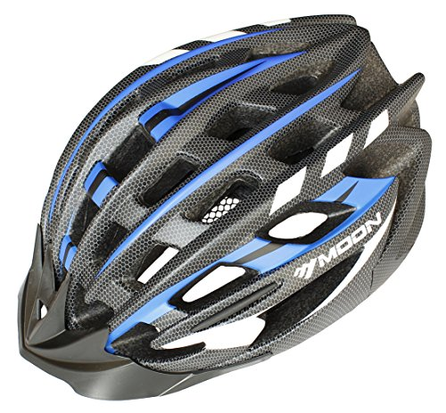 Moon Special Adult Sport Cycling Helmet In-Mold Tech,Mountain MTB&Road Dual Purpose with Removable Visor,Lightweight Design,EPS Carbon Fiber£šUnisex Women Men£©[8.1 oz][31 vent]Black&Blue