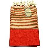 Luxus Fouta Hamam-Tuch mit Goldfäden (Lurex) 197 x 100cm XXL Extra Groß Pestemal aus 100% Baumwolle für Sauna, Bad, Strand-Tuch Bade-Tuch … (Koralle)