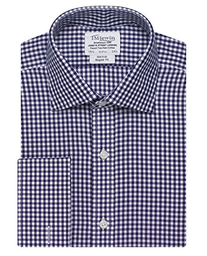 TM Lewin Herren Business-Hemd, Kariert Blau - Navy