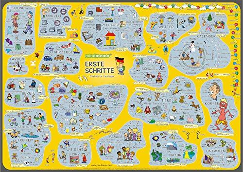 (mindmemo Lernposter - Erste Schritte - Deutsch für Anfänger DaZ DaF - spielend Deutsch lernen Kinder Vokabeln lernen mit Bildern Lernhilfe Poster DIN A2 42x59 cm PremiumEdition Transportrolle)