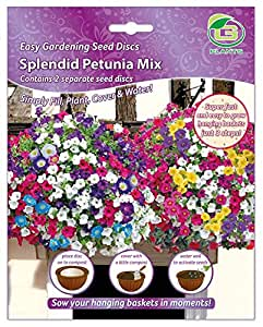 G Plants Easy Gardening Seed Mats Hanging Baskets Petunia mix - Multi-Colour