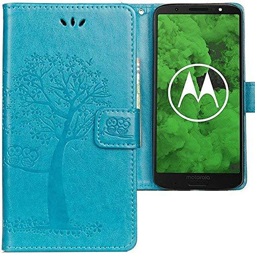 CLM-Tech Motorola Moto G6 Plus Hülle, Tasche aus Kunstleder, Baum Eule blau, PU Leder-Tasche für Moto G6 Plus Lederhülle