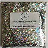 """Extra Chunky Glitter Bags 0.083""""/2mm Flakes for Face Body Cosmetic Hair Nails Craft Florist Festival 10 50 100g (Chunky Holographic Silver, 100g)"""