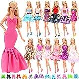 Miunana Fatti A MANO 5 PCS Abiti Vestiti Corti Alla Moda + 10 PCS Scarpe Selezionati A Caso Per Bambola Barbie Dolls (Con CE CERTIFICAZIONE)