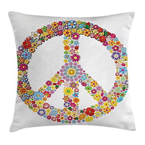 Ntpclsuits Modern Decor Pillow case Floral Peace Sign -