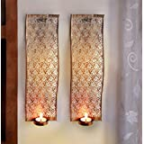 Tiedribbons® Wall Mounted Tea Light Holder With Tealight Candle For Diwali Decoration | Wall Sconces Tealight Candle Holder | Tealight Holder Hanging | Diwali Decoration Hanging | Diwali Lights For Decoration