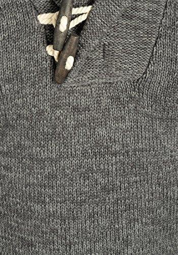 SOLID Prospero Herren Strickpullover Schalkragen aus 100% Baumwolle Meliert Dark Grey (2890)