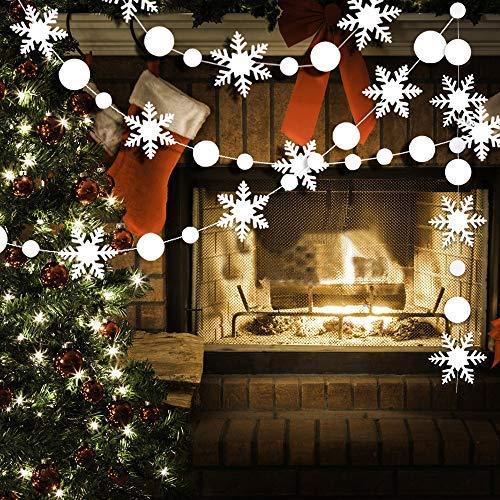 TMYSP Weihnachts Banner Party Dekorationen 5Saiten 3D weiß Schneeflocke Dot Aufhängen Wimpelkette Girlande Flaggen für Weihnachten Home Decor Urlaub Neue Jahre Party Dekoration (Wonderland Party Decor Winter)