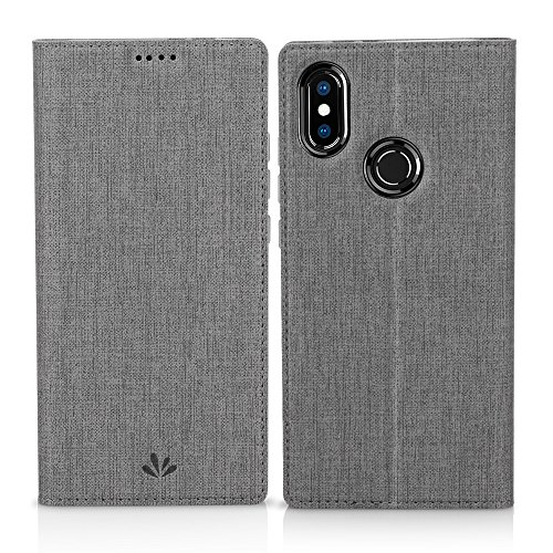 Eastcoo Xiaomi Mi A2 Hülle, Flip Folio Wallet Leder Smart Case Tasche Schutzhülle Handyhülle mit [Wake up][Standfunktion][Magnetic Closure] für Xiaomi Mi A2 (Mi A2, Gray)