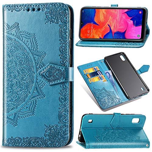 Funda para Samsung Galaxy A10, Galaxy M10 Carcasa Libro con Tapa Flip Case Antigolpes Golpes Cartera PU Cuero Suave Soporte con Correa Cordel - Mandala Azul
