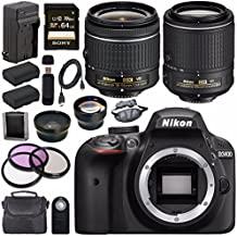 Nikon D3400 DSLR Camera With AF-P 18-55mm VR Lens (Black) + Nikon 55-200mm F/4-5.6G ED VR II Lens + EN-EL14 Replacement Lithium Ion Battery + External Rapid Charger + Carrying Case Bundle