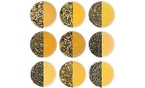 Green Tea Leaves Sampler - 10 TEAS, 50 SERVINGS | 100% Natural Detox Tea, Weight Loss Tea, Slimming Tea | Herbal Tea Sampler with Delicious Ingredients | Loose Leaf Tea Sampler | Tea Variety Pack