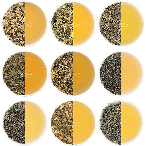 Muestreador de hojas de té verde - 10 TEAS, 50 PORCIONES - 100% NATURAL Té de pérdida de peso, Té adelgazante y Té de desintoxicación, Cosecha , Hoja suelta de té verde mezclada con ingredientes