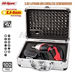 Apollo Cordless 3.6V 1300mAh Li-ion Battery Power 4-LED Screwdriver & 102 Piece Screwdriver Insert Bit Set. Includes Specialist Screw Bits for Appliances, Electronic Gadgets, Toys, Laptops, and Smartphones for DIY Home and Workplace in Smart Aluminum Storage Case