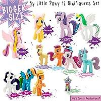 Kids Corner Productions® - My Little Pony Party Bag Conjunto de 12 mini figuras, figuras lindas de Pinky Pie, Rainbow Dash, Rarity con Spike y muchas más figuras mágicas